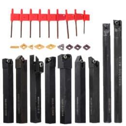 Drillpro Set di utensili per tornitura da barra da 10 mm con codolo da 12 mm con inserti in metallo duro
