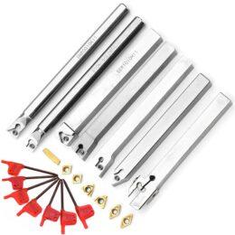 Drillpro Upgrade 21pcs 10mm Portautensili per tornio Portautensili Tornio + Inserto in metallo duro + Set di chiavi