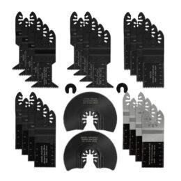 Drillpro 24Pcs Lama per sega oscillante Utensile multiplo Kit di lame per sega a sgancio rapido per metallo Legno Utensili oscillanti per taglio di plastica in plastica per Dewalt / Porter in grado / Ryobi / Fein Multi / B-osch / Dremel