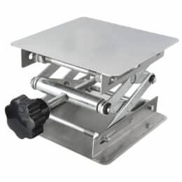 """Piattaforma di sollevamento in acciaio inossidabile 4 x 4 """"Supporto da laboratorio Sollevatore manuale da laboratorio per alzata 100x100x150mm"""